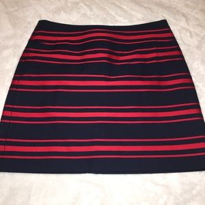 Loft Red & Navy Blue Striped Lined Skirt Size 4